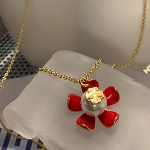 Tory Burch red flower pearl necklace